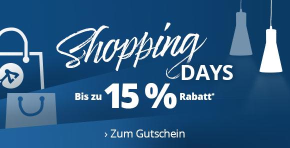 Shopping Days: Bis zu 15 % Rabatt