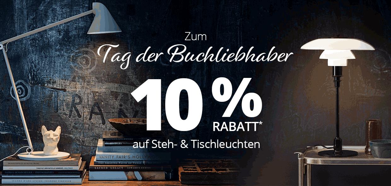 Tag der Buchlibehaber: 10 % Rabatt auf Steh- und Tischleuchten