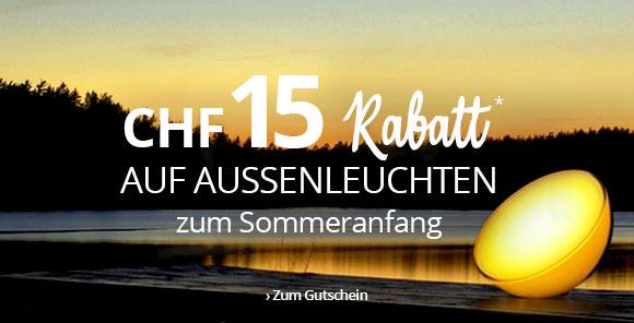 Sommeranfang: CHF 15 Rabatt