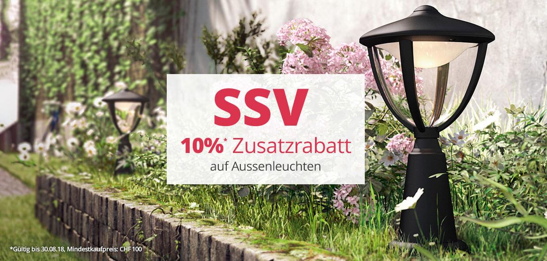 Jetzt 10 % Zusatzrabatt auf Aussenleuchten sichern!