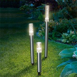 3er Set LED-Solar-Leuchtstäbe Trio Sticks