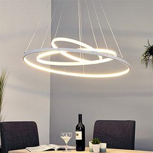 Leuchtstarke LED-Pendellampe Eline mit 3 Ringen
