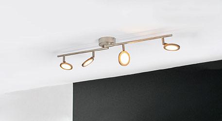 Nickelfarbene LED-Deckenlampe Helina, 4-flammig