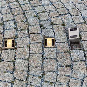 Solar-Bodeneinbauleuchte Pflasterstein mit LED