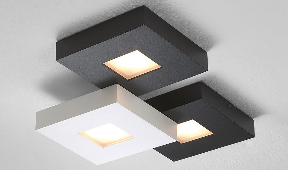 Bopp Cubus 3-flammige LED-Deckenlampe, schwarzweiss