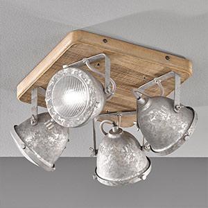Quadratische Holz-Deckenlampe Old 4-flammig