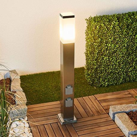 LED-Edelstahl-Wegeleuchte Luis mit Steckdosen o.D.