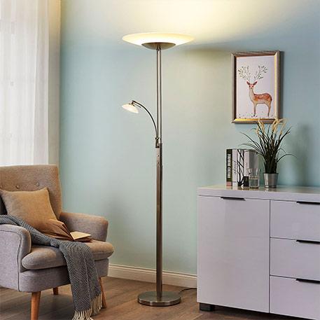 Nickelfarbener LED-Deckenfluter Judie mit Dimmer