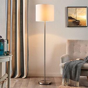 Parsa - Stehlampe mit Textilschirm in Weiss