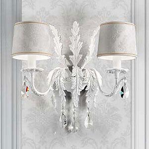 Weisse Wandleuchte Angelis mit Asfour-Kristallen