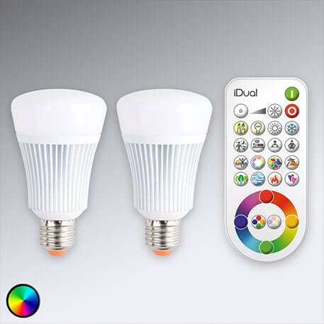 Steuerbare iDual E27-LED-Lampe 2er m. Fernbed.