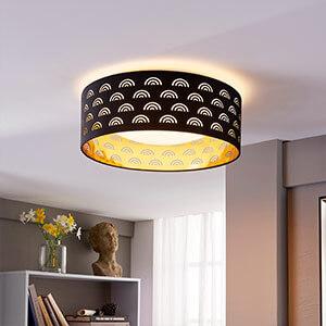 Jorunn - Textil-LED-Deckenlampe, schwarz und gold