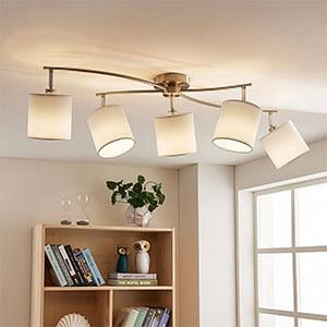 Weisse LED-Stoffdeckenlampe Mirola, 5-flammig