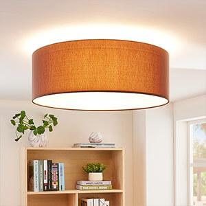 Braune Textil-LED-Deckenleuchte Dora, dimmbar