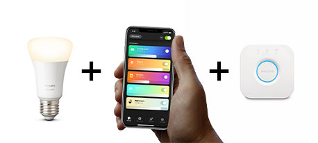Hue-Produkt + Hue-Bridge + Hue-App