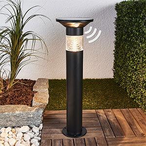 Solar-LED-Sockelleuchte Jalisa in Schwarz, Sensor
