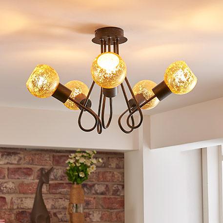 Goldfarbene Deckenlampe Julien, 5-flammig
