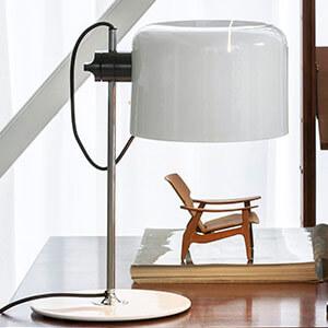 Oluce Coupé - zeitlose Design-Tischleuchte weiss