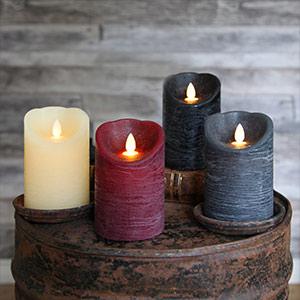 Flackernde Flamme - LED-Kerze Glim Frost elfenbein