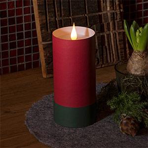 LED-Kerze in Zylinder m. Deckel - 3D Flamme, rot