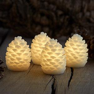 Im Viererset - LED-Kerze Zapfen Clara Höhe 7,5 cm