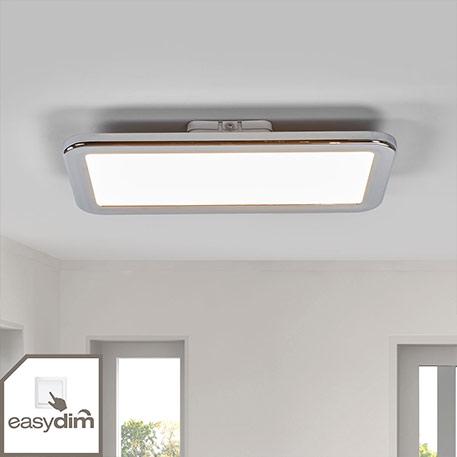 Verchromte LED-Bad-Deckenlampe Filina, easydim