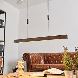 Längliche LED-Holz-Balkenpendellampe Nora, 78 cm