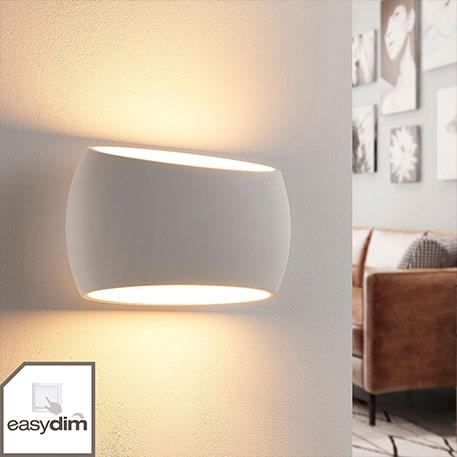 Weiße Easydim-Gipswandlampe Guida, LED