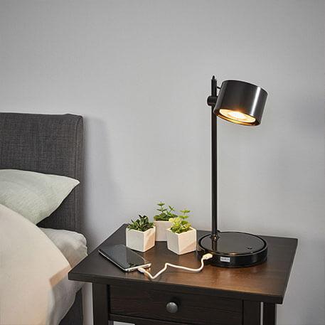 Schwarze LED-iDual-Tischlampe Jasmine mit Fernb.